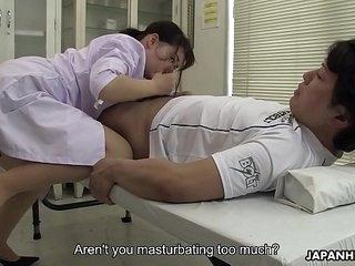 Japanese nurse, Sayaka Aishiro sucks dick while at work, uncensored