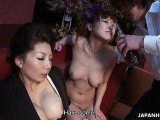 Two smoking hot Japanese girls enjoy a wild mishandle troika