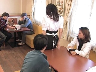 Japanese waitress food gangbang