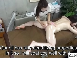 Orbit Japanese milf prone oil rub-down with Subtitles