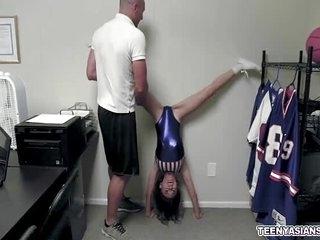 Tiny Asian Jasmin Grey cheerleader fuck audition