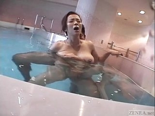 Subtitled Japanese huge breasts join in matrimony skinny dipping titjob