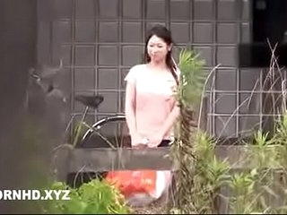 Japanese housewife fucked outside the house pinch pennies is inside