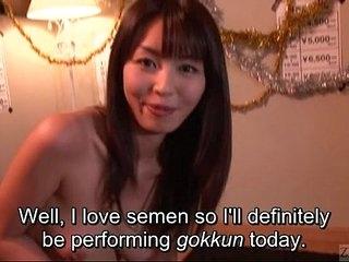 Subtitled Japanese AV star Marica Hase blowjob less gokkun