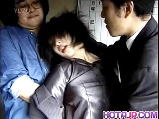 Japanese milf has flimsy crack roughly screwed by yoke dudes