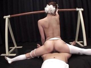 Uncensored Japanese milf ballerina threesome in the matter of splits