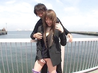 Japanese alfresco stripping and vibrator pleasantry Subtitled