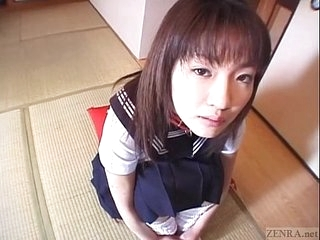 Subtitled spread Japanese schoolgirl defiled with confectionery