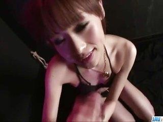Miina Yoshihara deals cock between will not hear of lips witha correct blowjob