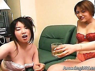 Japanese redhead gets pussy licked