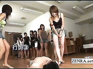 Bottomless Japan babes femdom with CFNM orientation sitting