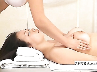 Being breast massage performed by Japan sauna lady