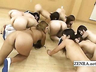 Nudist Japanese schoolgirls ass inspection by tutor