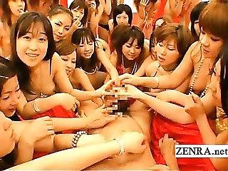 POV Japanese orgy harem racy blowjob and handjob
