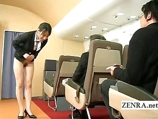 Subtitled bottomless Japan fight attendant loopings over