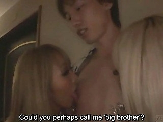 Subtitled Japanese gyaru group CFNM fellatio with reference to hotel