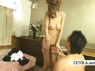 Japanese newhalf shemale is stripped nude fro blowjob