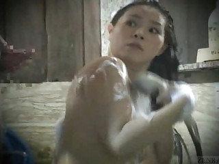 Subtitled real Japanese dilettante bathhouse cumshot episode