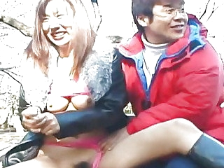 Hungry energized Japanese whore eats a hairy cock in public