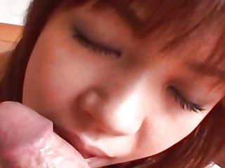 Japanese teen sucks and takes a cumshot in her brashness Uncensored