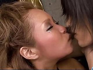 Smashing Asian gangbang with Riku Hinano