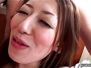 Asian floozy has a toy and a Hawkshaw encircling suck on