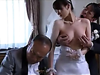 Japanese Milf wife realize stripped clothes by boss in act of her husband