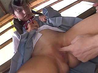 Hot Japanese school girl squirts as their way tight-fisted young pussy gets probed