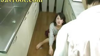 Japanese teen gets fucked aloft pantry floor