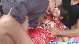 Steamy porn action along Japanese doll with two horny ragtag